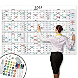 Large Dry Erase Wall Calendar - 58' x 38' - Undated Blank 2019-2020 Reusable Yearly Calendar - Giant Whiteboard Year Poster - Laminated Office Jumbo 12 Month Calendar