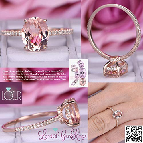 (Oval Morganite Ring Diamond Under Halo 14K Rose Gold 7x9mm)
