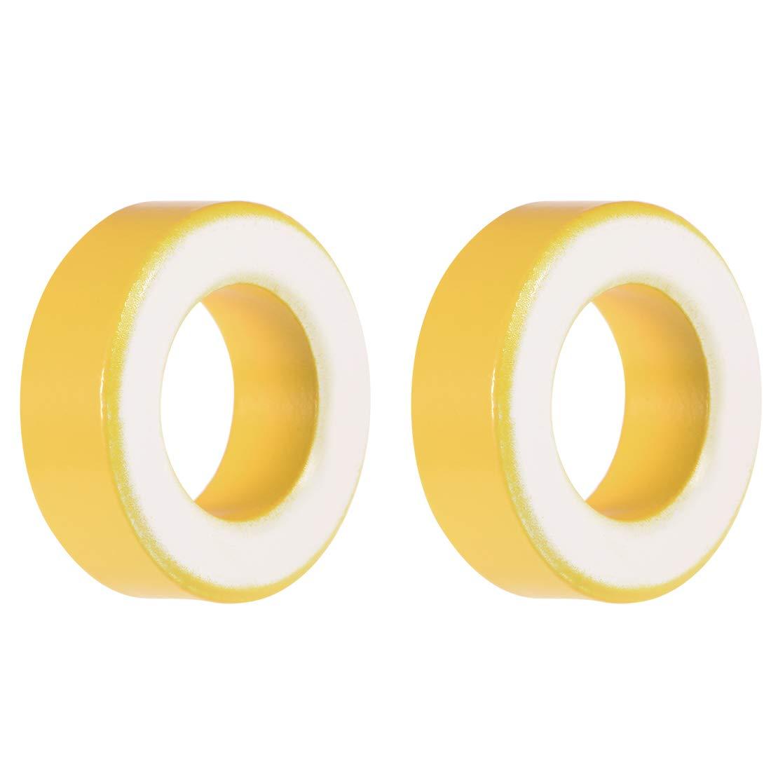 sourcing map Toroid Core Yellow White 10pcs 19.5 x 33.5 x 11.1mm Ferrite Chokes Ring Iron Powder Inductor Ferrite Rings