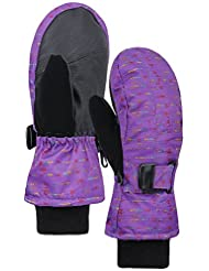 ANDORRA Girl's Night Galaxy Series Premium Weather-Proof Thinsulate Snow Ski Mittens, Lens-Wiper Thumbs,S,Purple