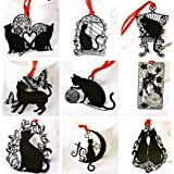 【9枚セット】 黒い猫 ステンレス金属 しおり ブックマーク ラッキーキャット