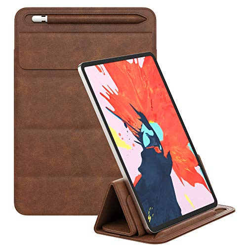 """MoKo iPad Pro 12.9 Inch Tablet Sleeve Case, PU Leather Trifold Stand Case Fits iPad Pro 3rd/4th Generation 2018-2020 /iPad Pro 12.9"""" (2017 & 2015), Tablet Pouch Organizer with Pen Holder - Brown"""
