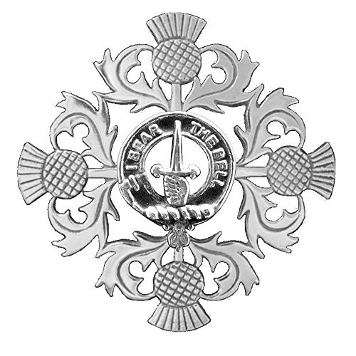 (Bell Clan Crest Scottish Thistle Brooch )