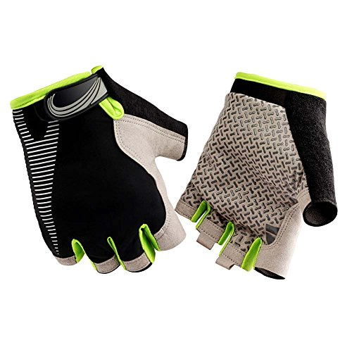 HENDGO Cycling Motorcycle Gloves Lce Silk High Elastic Breathable Silicone Non-Slip, Sunscreen, Breathable, Anti-Static.Outdoor Sports Gloves, Full Finger And Half Finger. (Half Finger-Green, M)