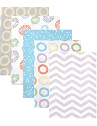Flannel Receiving Blankets, Yellow Pinwheel, 5 Count