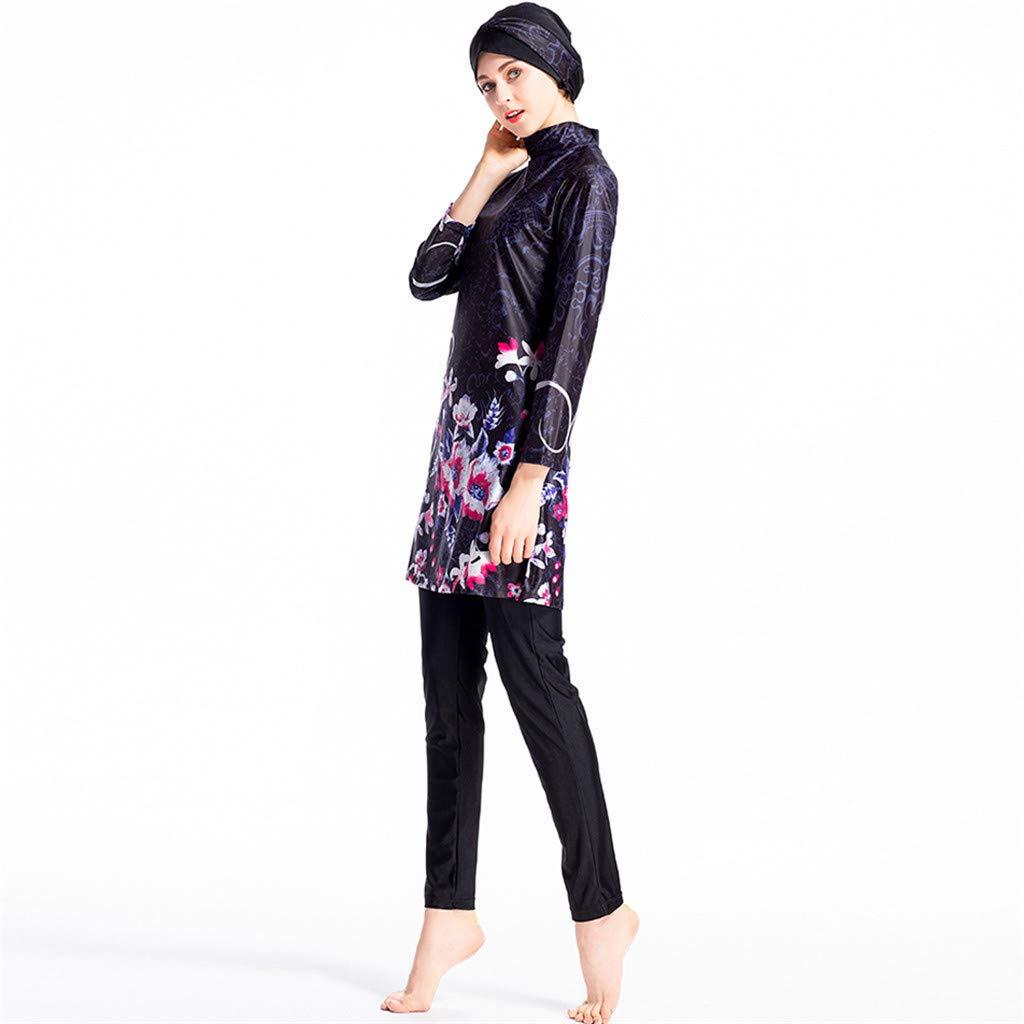 Zimuuy Muslimischen Bademode Damen Swimwear Mit Kappe Drucken Badeanzug Beachwear Burkini f/ür Muslimische Frauen