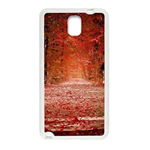 Autunm crimson fallen leaves forest trail Phone Case for Samsung Galaxy Note3