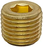 "Anderson Metals 56115 Brass Pipe Fitting, Hex Drive Countersunk Plug, 1/4"" NPT Male Pipe"