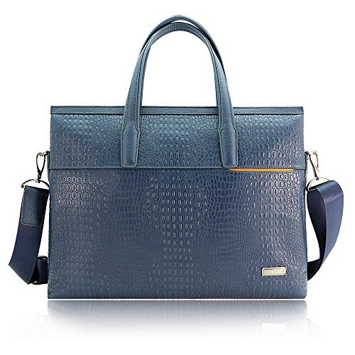 Herren Echtleder Business Aktentasche Laptop Messenger Schultertasche Büro Handtasche Crocodile Pattern Briefcase - Blue 9GFYqG2Y0I