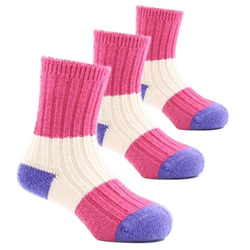 Girls Thick Winter Socks Kids Wool Warm Seamless Socks 6 Pack ()