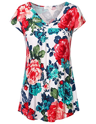 Women's Cap Sleeve V Neck Pleated Floral Flowy Tops Blouse Kimono Shirts A-White 2XL