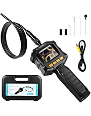 HOMIEE Endoscope Inspection Camera with LCD Monitor Screen,IP67 Waterproof Hand Held Digital Snake Car Bore Scope Camera, 8 Brightness LED Lights & 8mm Diameter, Portable Toolbox Included
