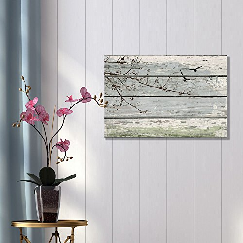 Bedroom Living Room s Abstract Tree Branches Birds on Vintage Wood Background Stretched Rustic ation