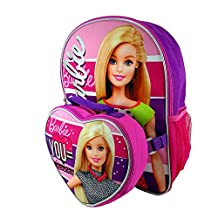 """Barbie """"You = Beautiful"""" 16"""" Backpack with Detachable Lunch Bag"""