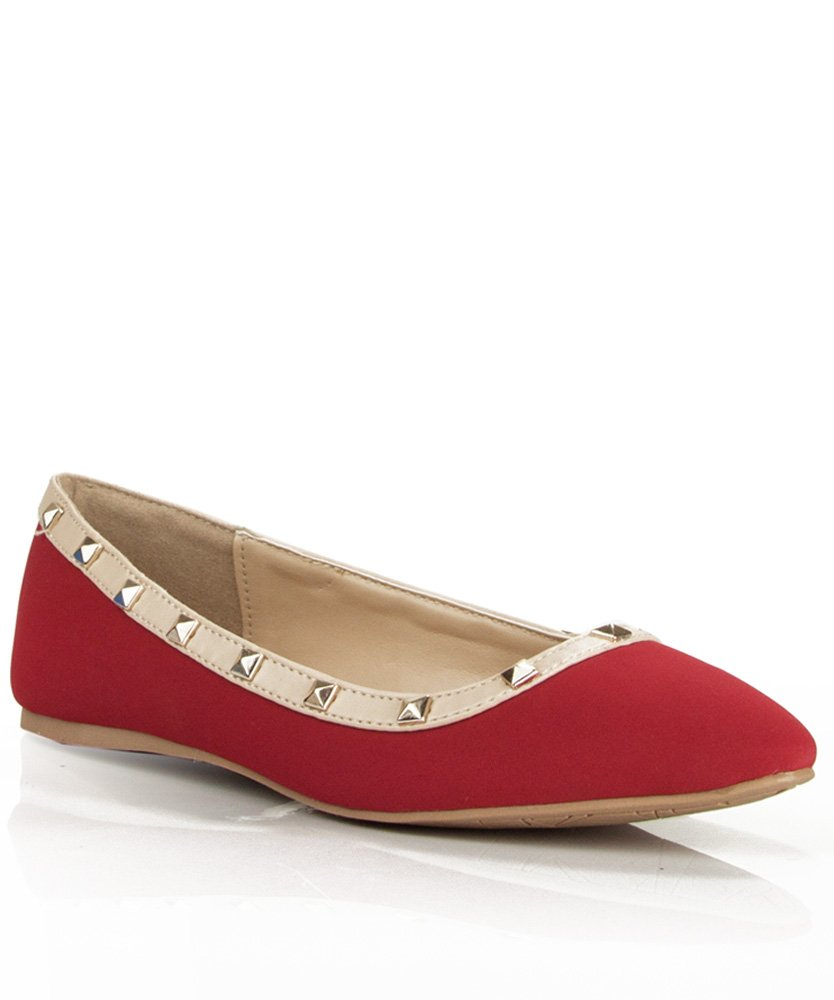 RF ROOM OF FASHION Women's Classic Casual Dressy Comfort Soft Slip on Pointed Toe Ballet Flats B00YR3FDC6 7.5 B(M) US|New Red With Studs