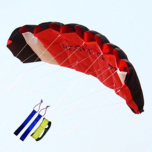 Besra New Arrival Huge 102inch/98inch/74inch Dual Line Parachute Stunt Kite with Flying Tools 2.6m/2.5m/1.9m Power Parafoil Kitesurfing Training kites Outdoor Fun Sports for Beach (74inch Red)