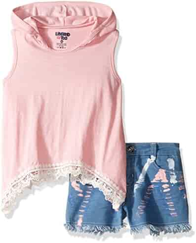 Limited Too Girls' 2 Piece Hoodie Tank and Denim Short