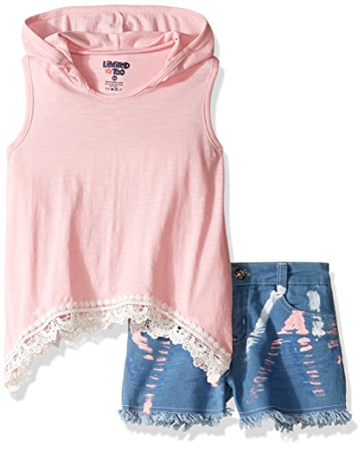 Limited Too Girls 2 Piece Hoodie Tank and Denim Short