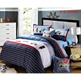 Cliab Cars Bedding For Boys Twin Applique Duvet Cover Set 100% Cotton 4 Pieces
