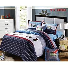 Cliab Cars Bedding For Boys Twin Applique Duvet Cover Set 100% Cotton 4 Pieces