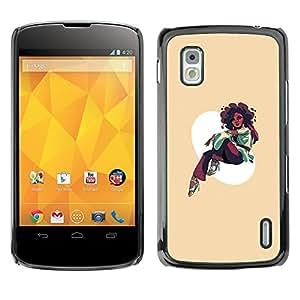 KLONGSHOP // Cubierta de piel con cierre a presión Shell trasero duro de goma Protección Caso - Afro Chica - LG Nexus 4 E960 //