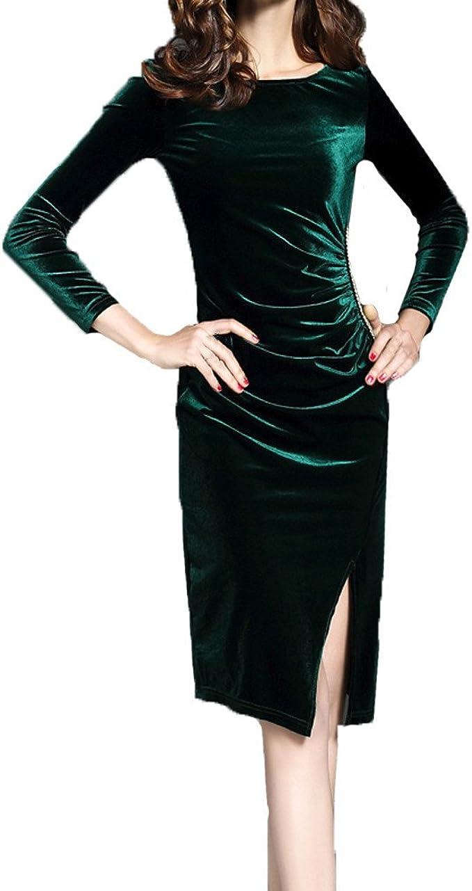 LuckyGirls Samtkleid Damen Nacht Bodycon Kleid Langarm Kleider Samt Rock