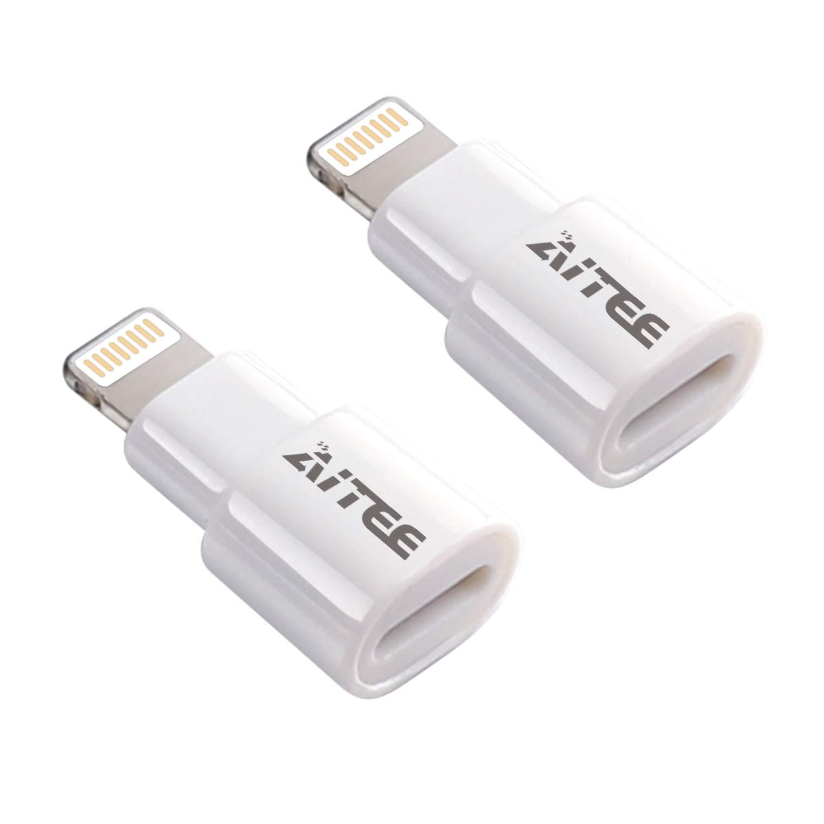 8 Pin Extender Adapter, AITEE Dock Extension Connector for Lifeproof Otterbox Case Compatible with iPhone 5/5s/5c/SE/6/6S/7/8 Plus/X and iPad (White 2Pack)