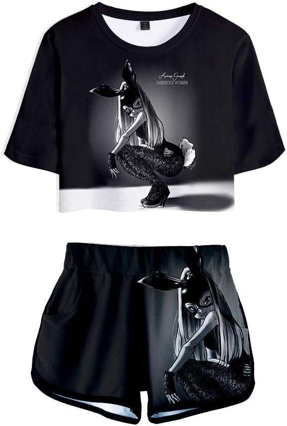 Shorts T-Shirt Dames /ét/é Costume Deux Pi/èces Costume De Sport Imprim/é Ariana Grande 3D Crop Top Femme Short Ado Fille