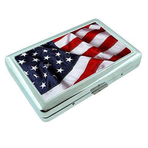 Vintage American Flag USA S13 Silver Cigarette Case Metal Wallet Id Holder 4
