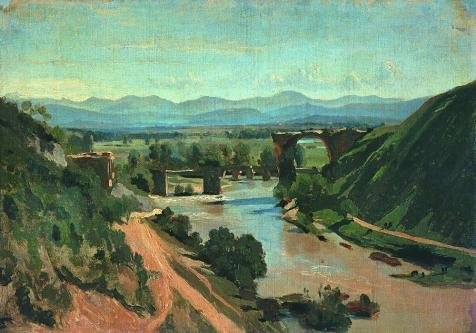 Oil Painting 'Jean-Baptiste-Camille Corot-The Bridge At Narni,1826' 20 x 29 inch / 51 x 73 cm , on High Definition HD canvas prints is for Gifts And Kitchen, Laundry Room And Nursery Decoration, my (Louis Rams Logo Pendant)