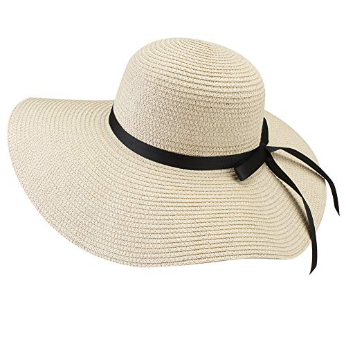 FURTALK Women Wide Brim Sun Hat Summer Beach Cap UPF UV Packable Straw Hat for Travel (Medium,Adult WideBrim Beige)