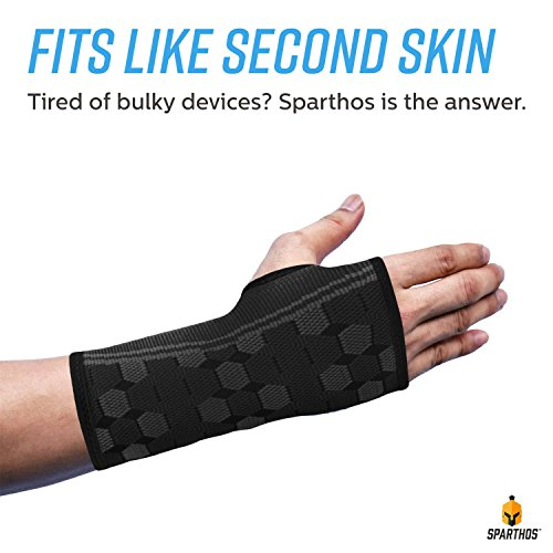 Sparthos Wrist Support Sleeves by (Pair) – Compression Wrist Brace for Men and Women - Carpal Tunnel Tendonitis Arthritis Pain Relief Recovery from Wrist Pain, Strains, Sprains, Bursitis (Black-S) by Sparthos (Image #6)