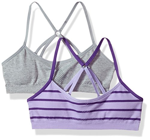 Hanes Big Girl's ComfortFlex Fit Seamless Racerback with Foam 2-Pack Bra, Heather Grey/Violet Tulip, Large
