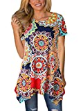 MIROL Womens Summer Short Sleeve Floral Print Irregular Hem Asymmetrical Loose Fit Tunic Tops, Colorful, X-Large