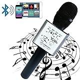 Handheld Wireless Karaoke Microphone, YUWO Mini Bluetooth Handheld Speaker, Portable Stereo Player for Music Playing, Mini Home KTV Karaoke for Apple, Iphone, Android Smartphone or PC. (BLACK)