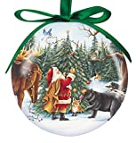 Cape Shore 3'' Santa with Animals Ball Ornament