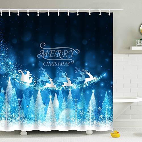 Snow Claus Santa - IcosaMro Christmas Shower Curtain for Bathroom with Hooks, Star Santa Claus Snow Forest Decorations Bathroom Curtains - 71
