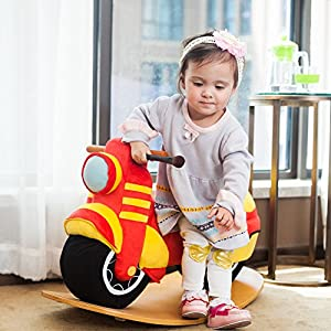 Hessie Modern Plush Rocking Horse with Soft Cute Stuffed Animal, Indoor Ride On Toys Rockers for Toddlers Kids Little Boys & Girls (6-36 Months) - Padded Red Motor / Motorcycle
