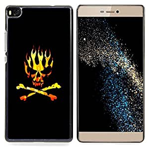 Golden Black Crossbones Flames Skull Caja protectora de pl??stico duro Dise?¡Àado King Case For HUAWEI P8