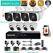 Eyedea H 1080P 8 CH Remote PC Online View DVR Bullet Audio CMOS LED Night Vision Dome Outdoor Video Surveillance CCTV Security Camera System