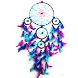 Oun Nana Dream Catcher - Handmade Circular Net With feathers Wall Hanging Decoration Ornament - Traditional Royal Blue, Pink and Purple 8.6'' Diameter and 27.5'' Long