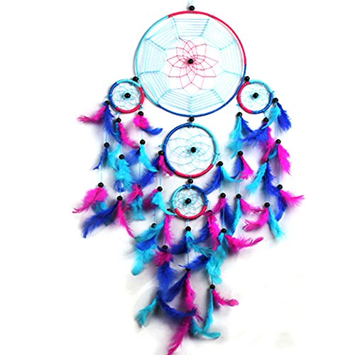 "Oun Nana Dream Catcher - Handmade Circular Net With feathers Wall Hanging Decoration Ornament - Traditional Royal Blue, Pink and Purple 8.6"" Diameter and 27.5"" Long"