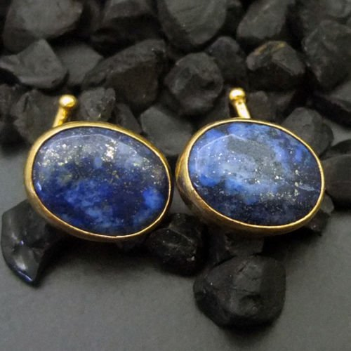 Ancient Design Handmade Oval Lapis Men Cufflink 24K Gold over 925K Sterling Silver