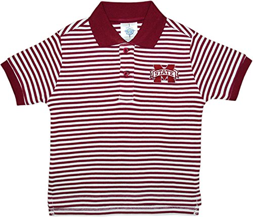 (Mississippi State University Bulldogs Split M Striped Polo Shirt by Creative Knitwear, Maroon/White, 4T)
