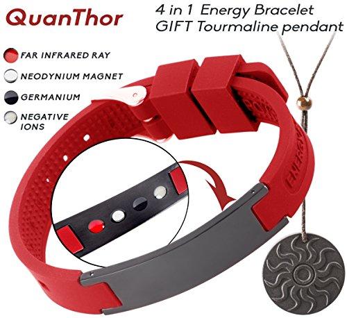 Sports Anion Energy Bracelet Wristband - Black + Silver - 4