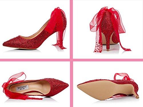 Marie De Ruban Cristal Talons Accentu Hauts Chaussures 11cm Strass Rouge wZ5SP5Oqx