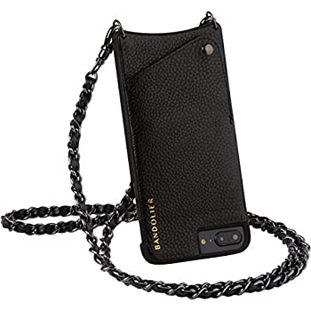innovative design c62ec 4f3d5 Bandolier [Lucy] Crossbody Phone Case and Wallet - Compatible with iPhone  8/7/6 - Black Leather with Pewter Accent