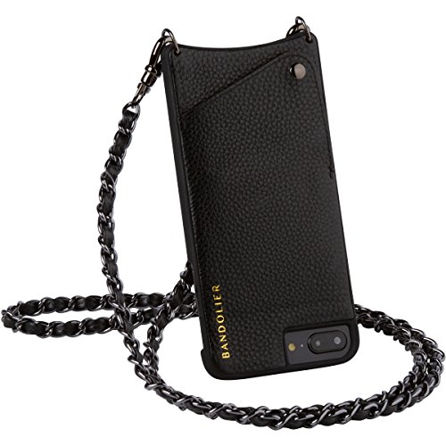 Bandolier [Lucy] Crossbody Phone Case and Wallet - Compatible with iPhone 8/7/6 - Black Leather with Pewter Accent]()