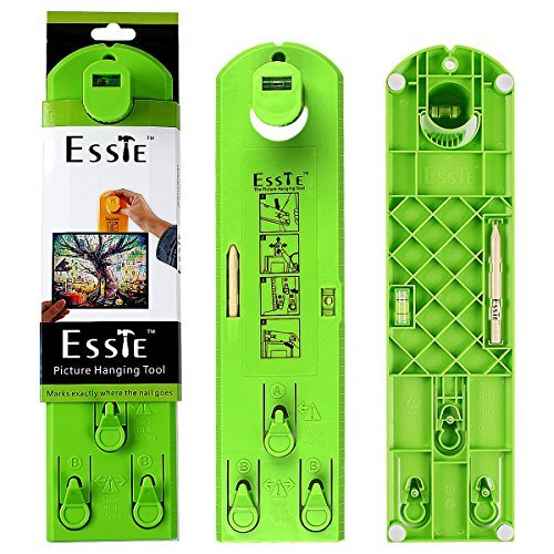 Tool Horizontal Type (Esste Picture Frame Level Ruler - Suspension measurement marking position tool with pencil and sticker for measuring the suspension and horizontal wall of the roof (Green Ruler+Pencil))