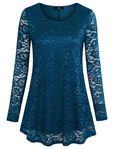 Laksmi Long Shirts For Leggings, Womens Sheer Long Sleeve Blouse Scoop Neck Floral Lace Flowy Casual Tops,Dark Cyan XL